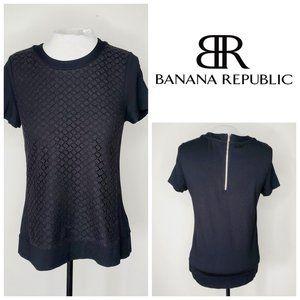 BANANA REPUBLIC Black Lace Zip Top